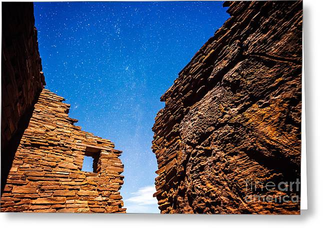 Ancient Native American Pueblo Ruins And Stars At Night Greeting Card