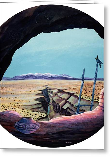 Ancient Of Jays And The Remnants Of Man Above The Taos Gorge Greeting Card by Anastasia Savage Ealy