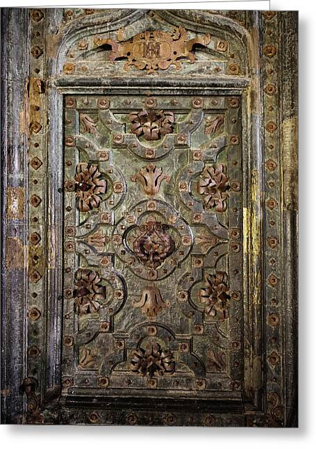 Ancient Ornate Door Of Girona Cathedral Greeting Card by Artur Bogacki