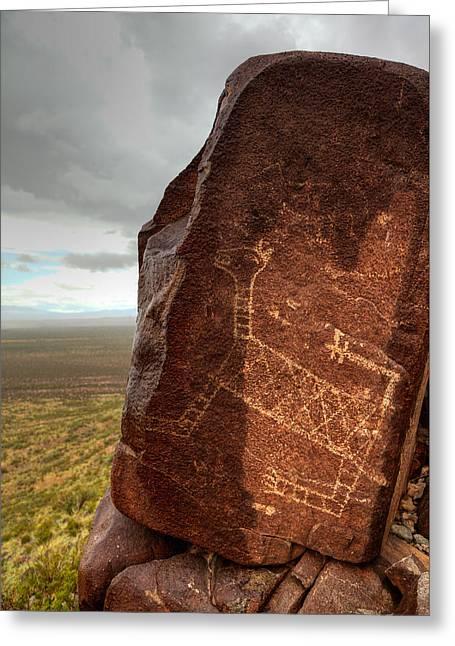 Ancient Petroglyph At Three Rivers Petroglyph Site Greeting Card