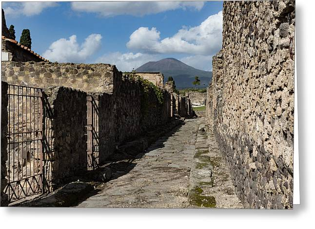 Ancient Pompeii - Empty Street And Mount Vesuvius Volcano That Caused It All Greeting Card