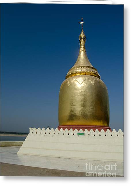 Ancient Riverside Stupa Along The Irrawaddy River In Burma Greeting Card by Jason Rosette