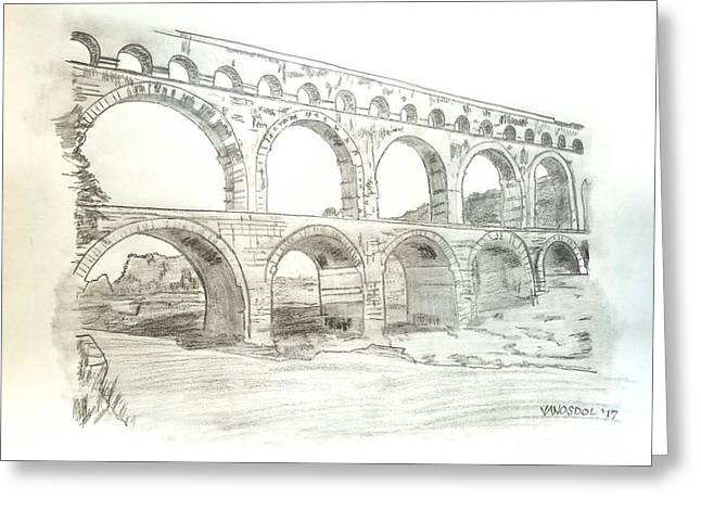 Ancient Roman Aqueducts Greeting Card by Scott D Van Osdol