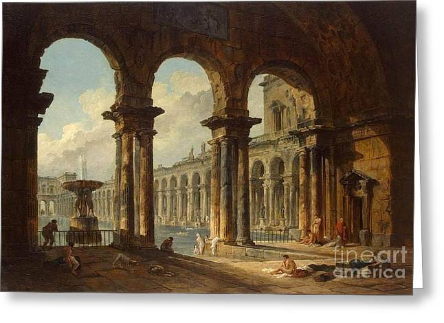 Ancient Ruins Used As Public Baths Greeting Card by MotionAge Designs