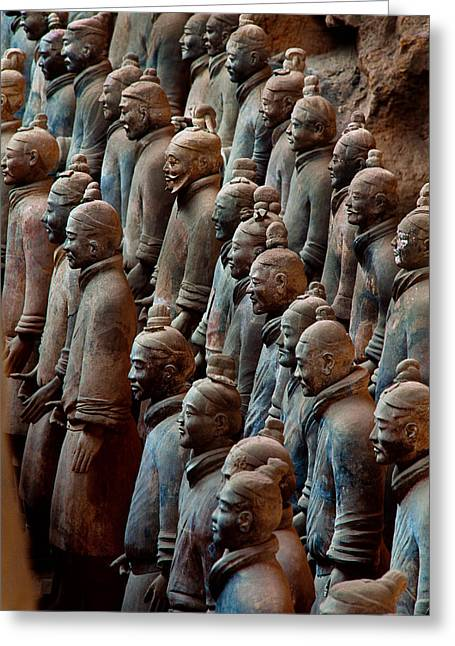 Ancient Soldier Statues Stand At Front Greeting Card