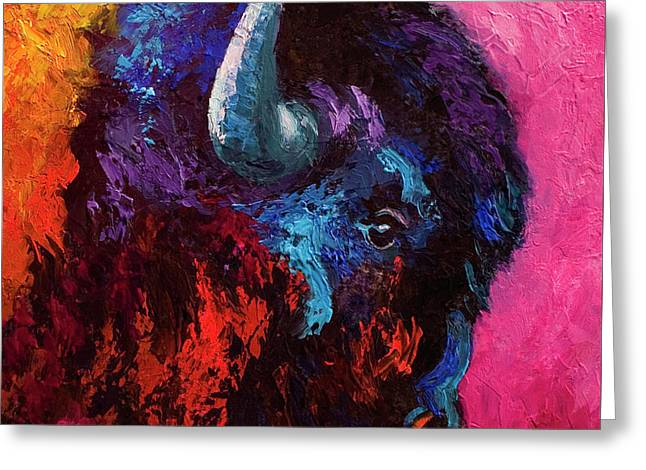 Ancient Soul - Bison Greeting Card by Marion Rose