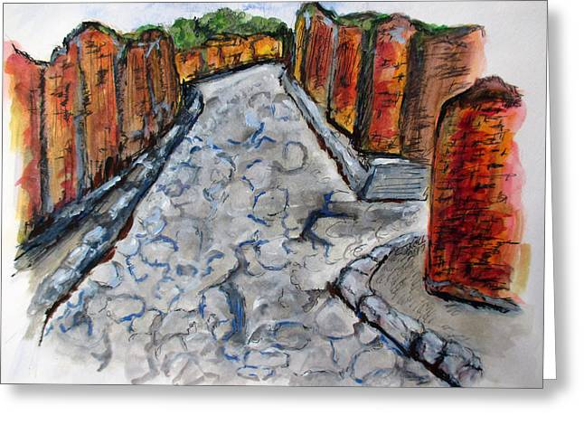 Greeting Card featuring the painting Ancient Street, Pompeii by Clyde J Kell