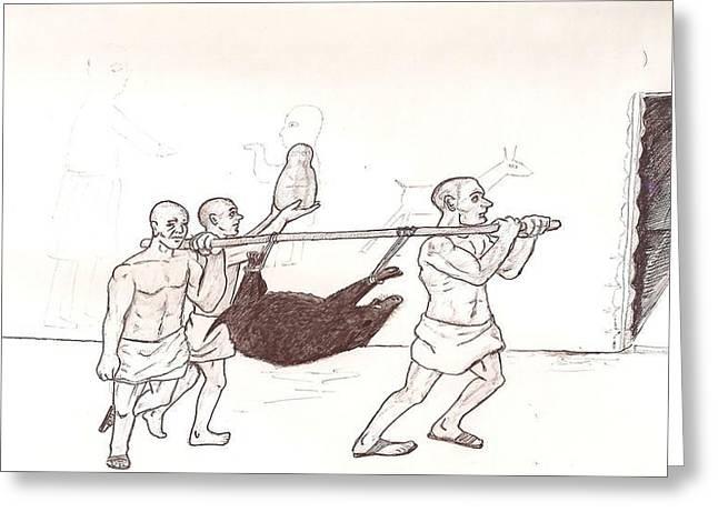 Ancient Sumer Sacrifice Greeting Card by Sohel A Bahjat