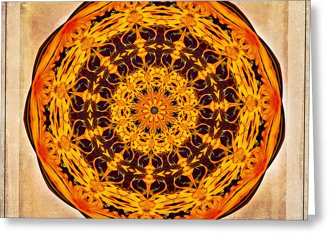 Ancient Sun Kaleidoscope Greeting Card