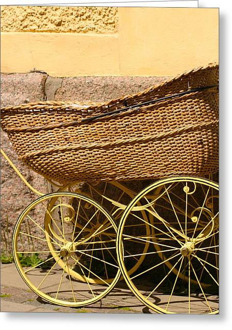 Ancient Swedish Baby Carriage Greeting Card by Dagmar Batyahav