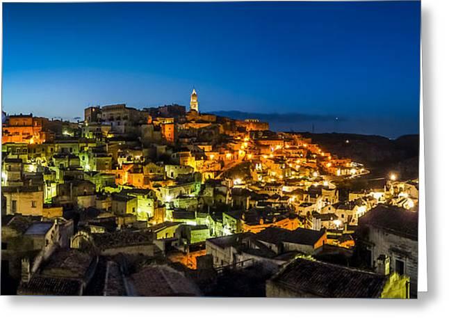 Ancient Town Of Matera At Dusk, Basilicata, Southern Italy Greeting Card by JR Photography