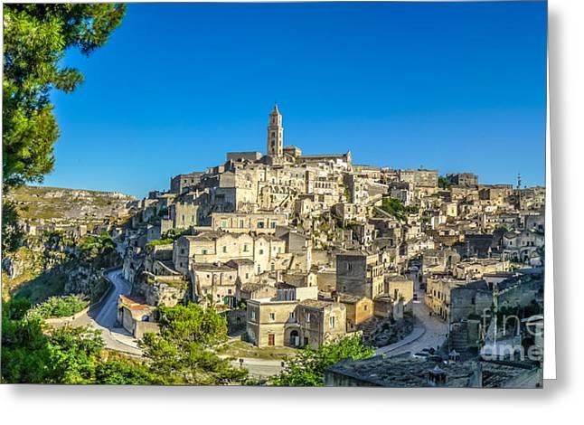 Ancient Town Of Matera At Sunset, Basilicata, Italy Greeting Card by JR Photography