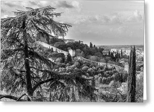 Ancient Walls Of Florence-bandw Greeting Card by Sonny Marcyan
