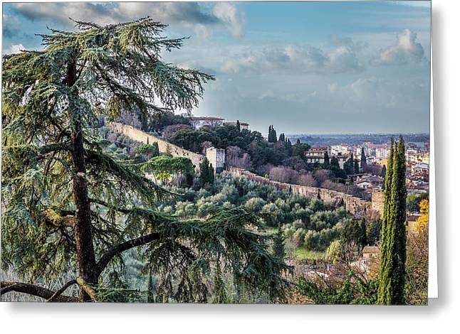 Ancient Walls Of Florence Greeting Card by Sonny Marcyan