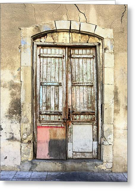 Ancient Wooden Door In Old Town. Limassol. Cyprus Greeting Card