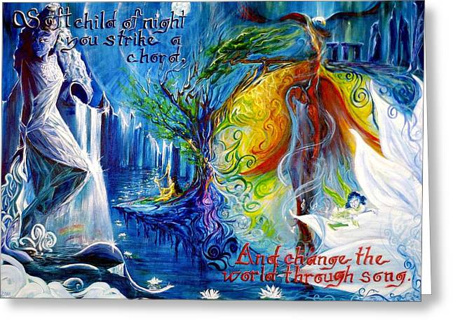 Swirls Of Energy Greeting Cards - And Change the World Through Song... Greeting Card by Jennifer Christenson