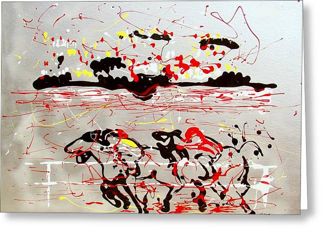 Greeting Card featuring the mixed media And Down The Stretch They Come by J R Seymour