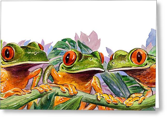 Tree Frog Paintings Greeting Cards - And Froggy Makes Three Greeting Card by Shawn Shea