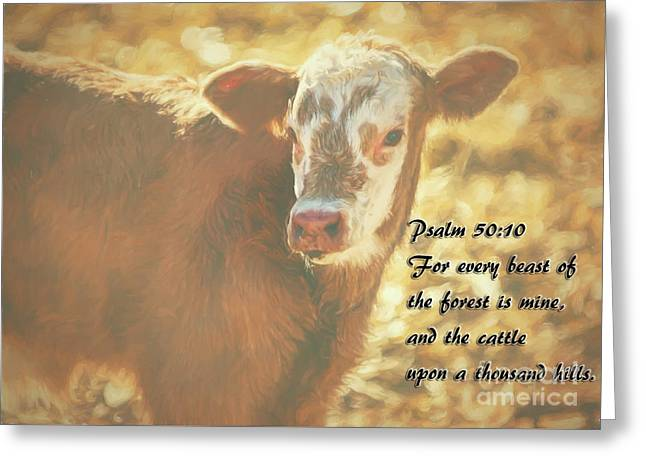 And The Cattle Greeting Card by Janice Rae Pariza