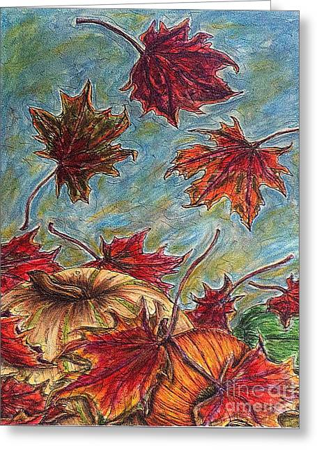 And The Leaves Came Tumbling Down Greeting Card
