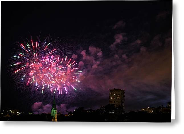 And The Rockets Red Glare Greeting Card by CJ Schmit