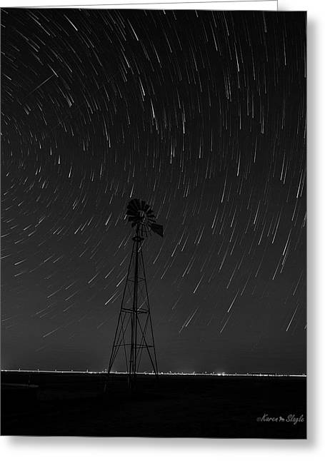 And The Stars Rained Down Black And White Greeting Card by Karen Slagle
