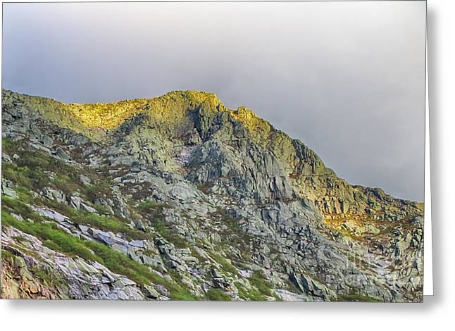 And The Sun Goes Down On Pamola Peak Greeting Card by Elizabeth Dow