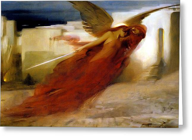 And There Was A Great Cry In Egypt Greeting Card by Arthur Hacker