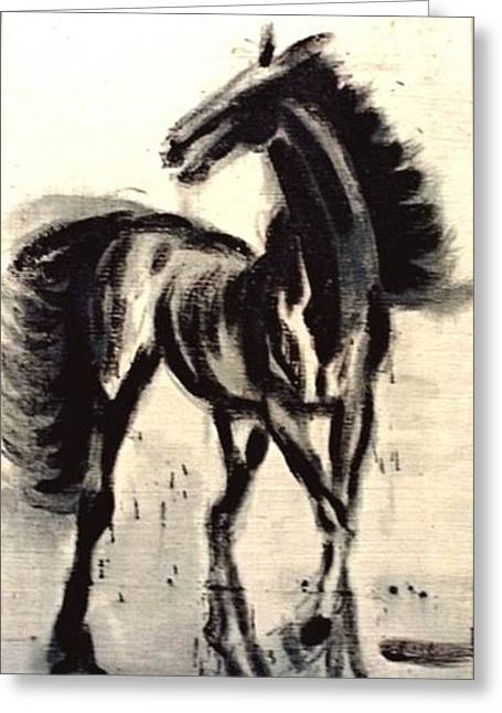 Greeting Card featuring the painting Andalusian Colt by Jarmo Korhonen aka Jarko