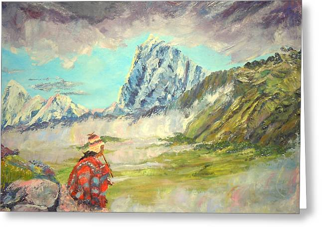 Andean Flautist Greeting Card