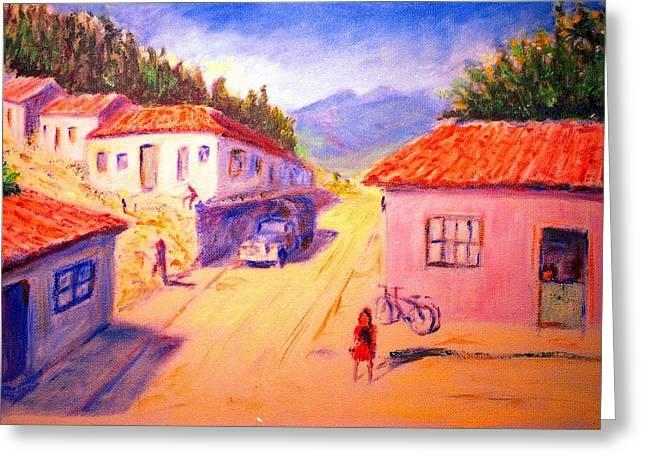 Andean Village Greeting Card by Horacio Prada