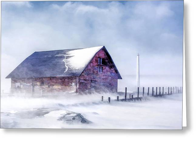 Greeting Card featuring the painting Anderson Dock Winter Storm by Christopher Arndt