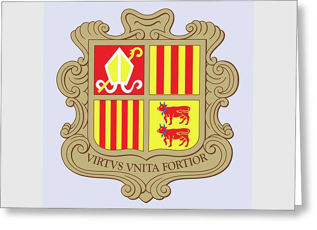 Greeting Card featuring the drawing Andorra Coat Of Arms by Movie Poster Prints