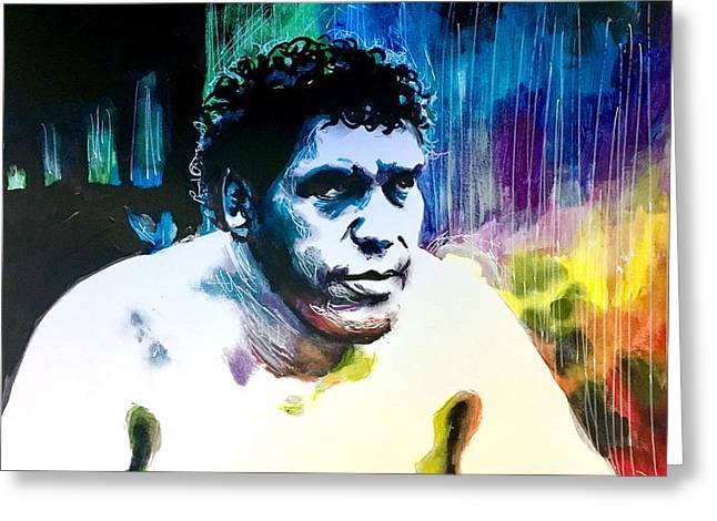 Greeting Card featuring the painting Andre The Giant by Joel Tesch