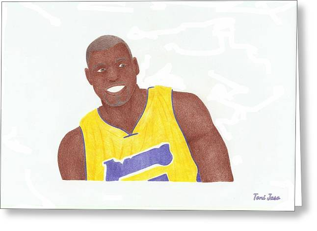 Andrew Bynum Greeting Card by Toni Jaso
