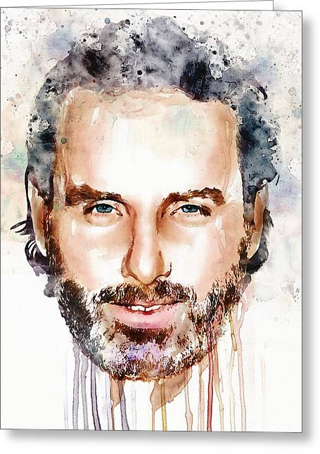Rick Grimes Greeting Cards - Andrew Lincoln watercolor Greeting Card by Marian Voicu