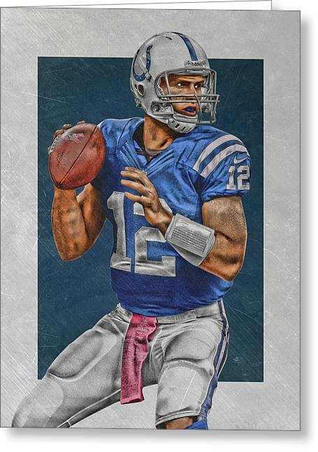 Andrew Luck Indianapolis Colts Art Greeting Card by Joe Hamilton