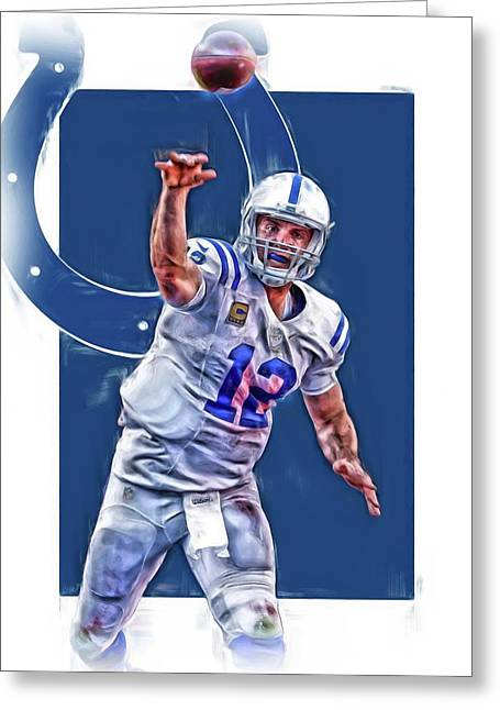 Andrew Luck Indianapolis Colts Oil Art 1 Greeting Card by Joe Hamilton