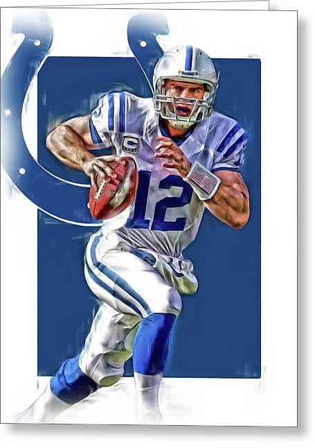 Andrew Luck Indianapolis Colts Oil Art Greeting Card by Joe Hamilton