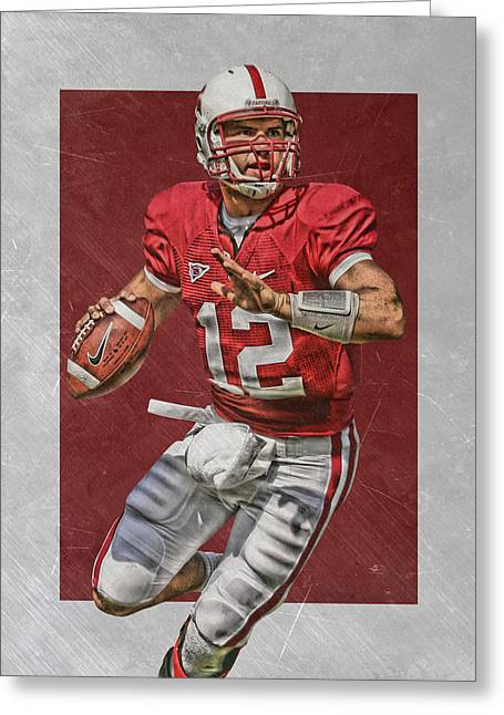 Andrew Luck Stanford Cardinals Art Greeting Card by Joe Hamilton