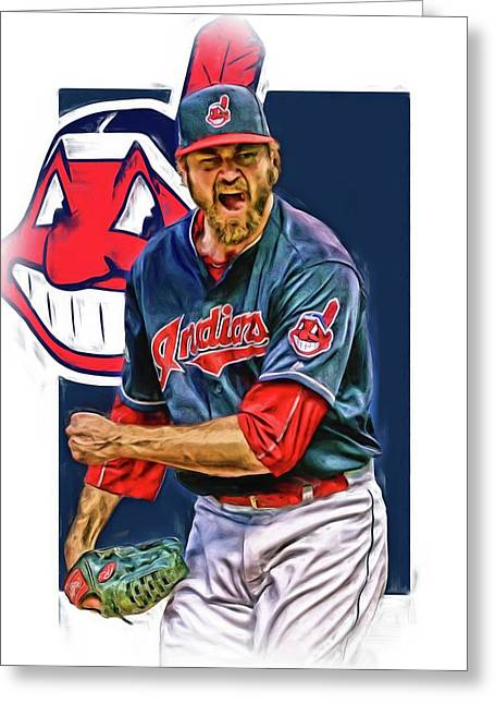 Andrew Miller Cleveland Indians Oil Art Greeting Card by Joe Hamilton