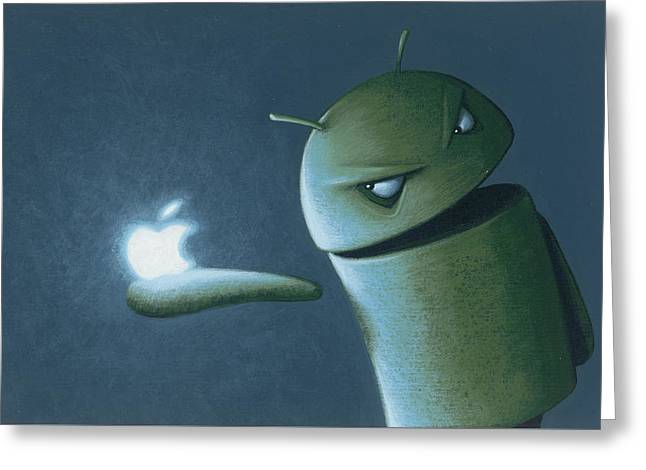 Android Vs Apple Greeting Card by Jasper Oostland