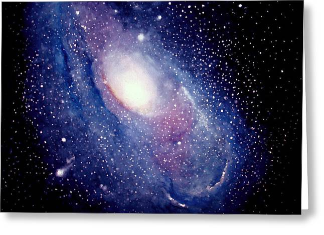 Greeting Card featuring the painting Andromeda Galaxy by Allison Ashton