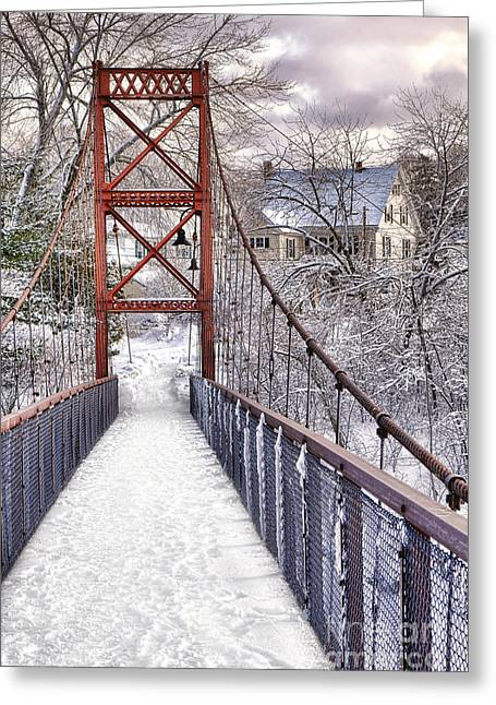 Androscoggin Swinging Bridge And Yellow House In Winter Greeting Card by Olivier Le Queinec