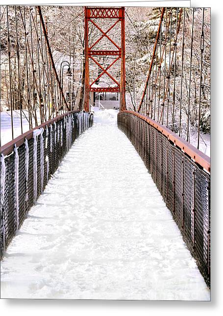 Androscoggin Swinging Bridge In Snow Greeting Card by Olivier Le Queinec