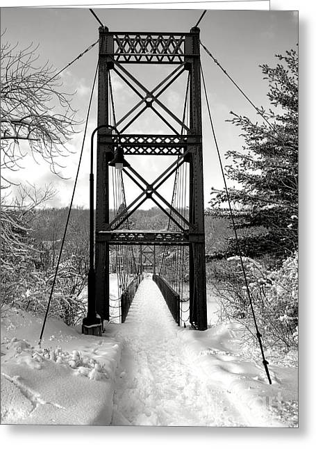 Androscoggin Swinging Bridge In Winter Greeting Card by Olivier Le Queinec