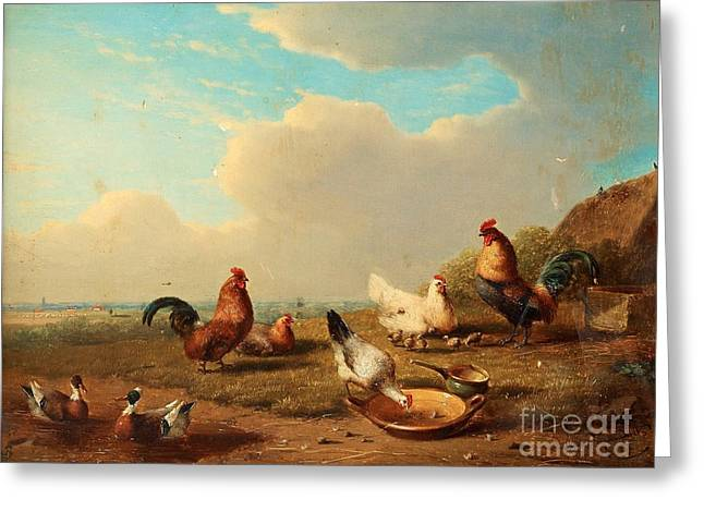 Andscape With Hens Greeting Card by Celestial Images