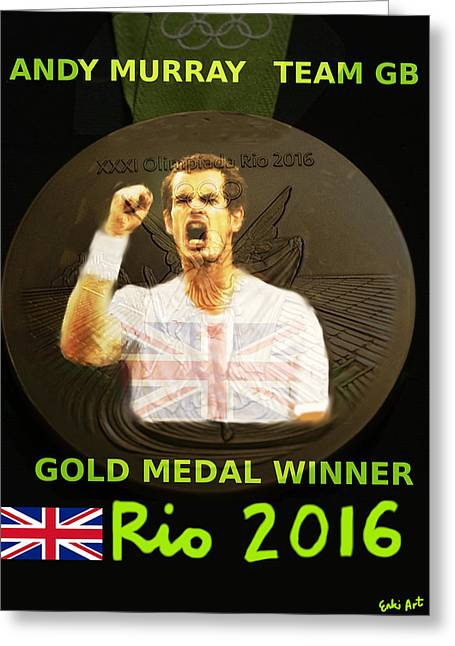 Andy Murray Gold Medal Poster  Greeting Card by Enki Art