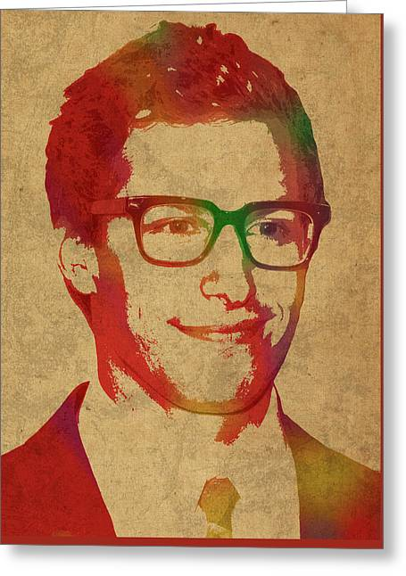 Andy Samberg Comedian Actor Watercolor Portrait On Canvas Greeting Card by Design Turnpike