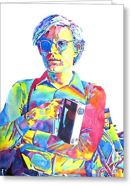 Andy Warhol - Media Man Greeting Card by David Lloyd Glover